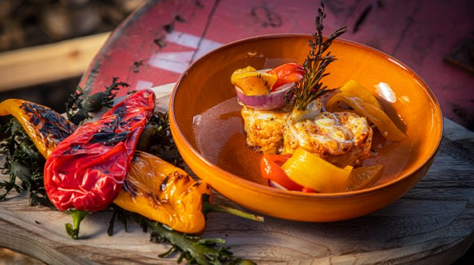 Grilled Monkfish With Roasted Pepper