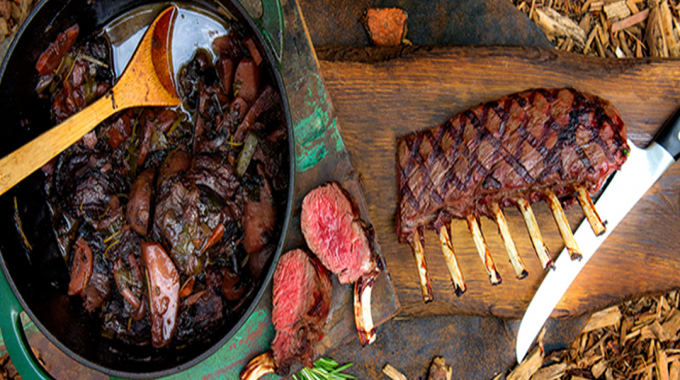 Grilled Rack Of Venison With Stewed Venison Cheeks