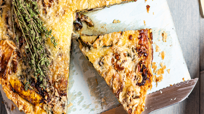 Italian Quiche With Grilled Vegetables And Tomato Salad