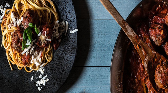 Spaghetti With Stuffed Meatball In Tomato Sauce