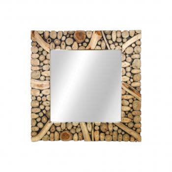 Framed Wall Mirror Figura – 90×90 Cm – Teak