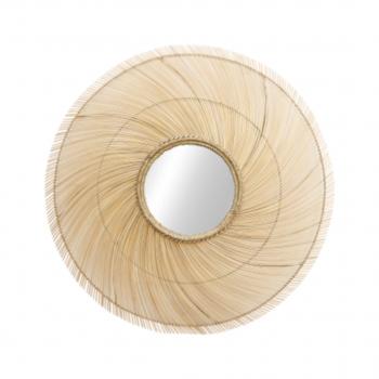 Framed Wall Mirror – ø120 Cm – Bamboo